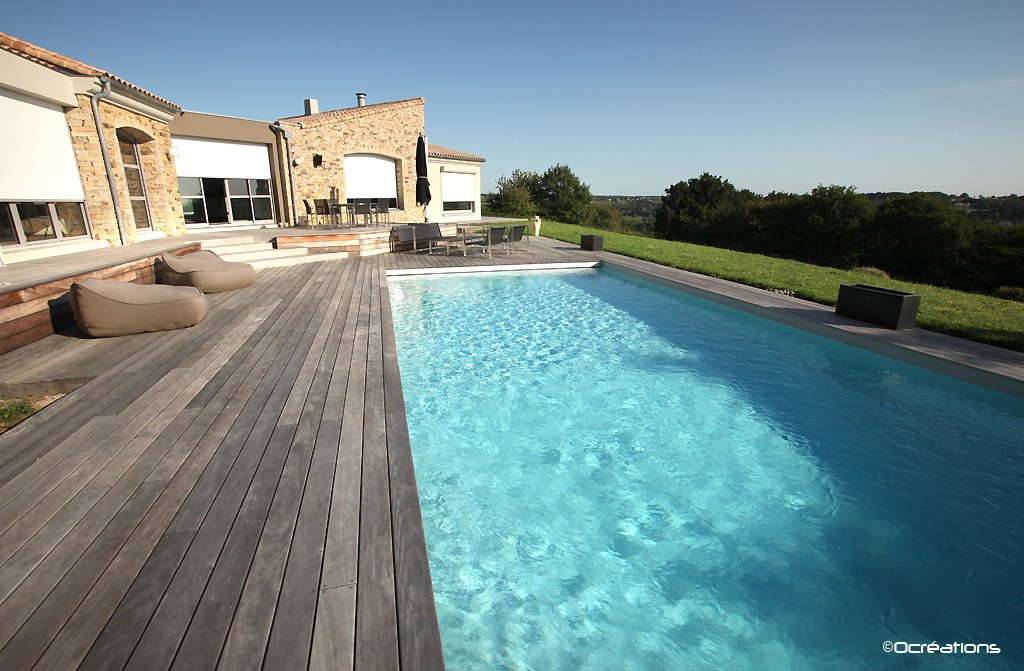 Piscines d ext rieur at - Piscine avec liner gris clair ...
